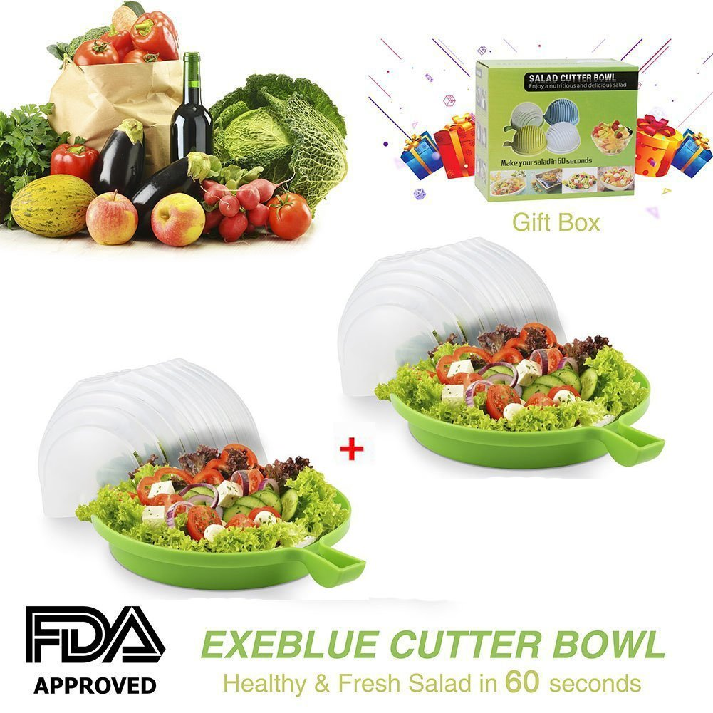 Amazon.com | Salad Cutter Bowl Cut Fruit or Vegetables in 60 Seconds ...