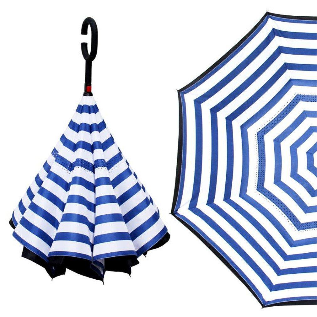 Guoke The Reverse, Double Long Handle, Men And Women Fine Umbrella Creative German Car Hands-Free Oversized Anti-Bone Umbrella, Blue - Grid
