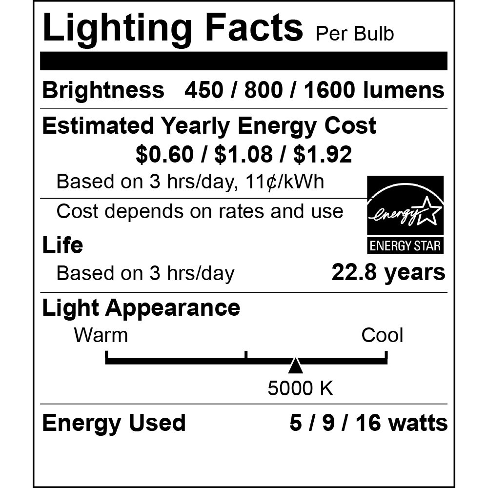 UL /& Energy Star Listed Euri Lighting EA21-1020et LED A21 3-Way Bulb 230 Degree Beam Angle 40W 60W 100W Equivalent 5W 9W 16W Non-Dim E26 Everyday Line Base Med Warm White 2700K