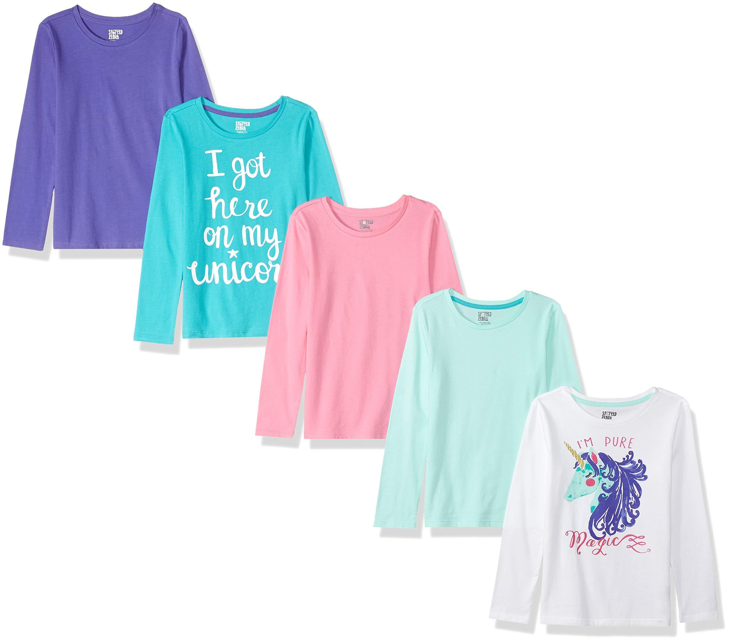 Amazon Brand - Spotted Zebra Girls' Little Kid 5-Pack Long-Sleeve T-Shirts, Magic, Small (6-7)