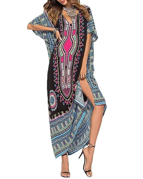 d459c41fa2f22 AUDATE Women's Casual Plus Size Nightdress Patchwork Kaftan Maxi Swimwear  Cover Up Black