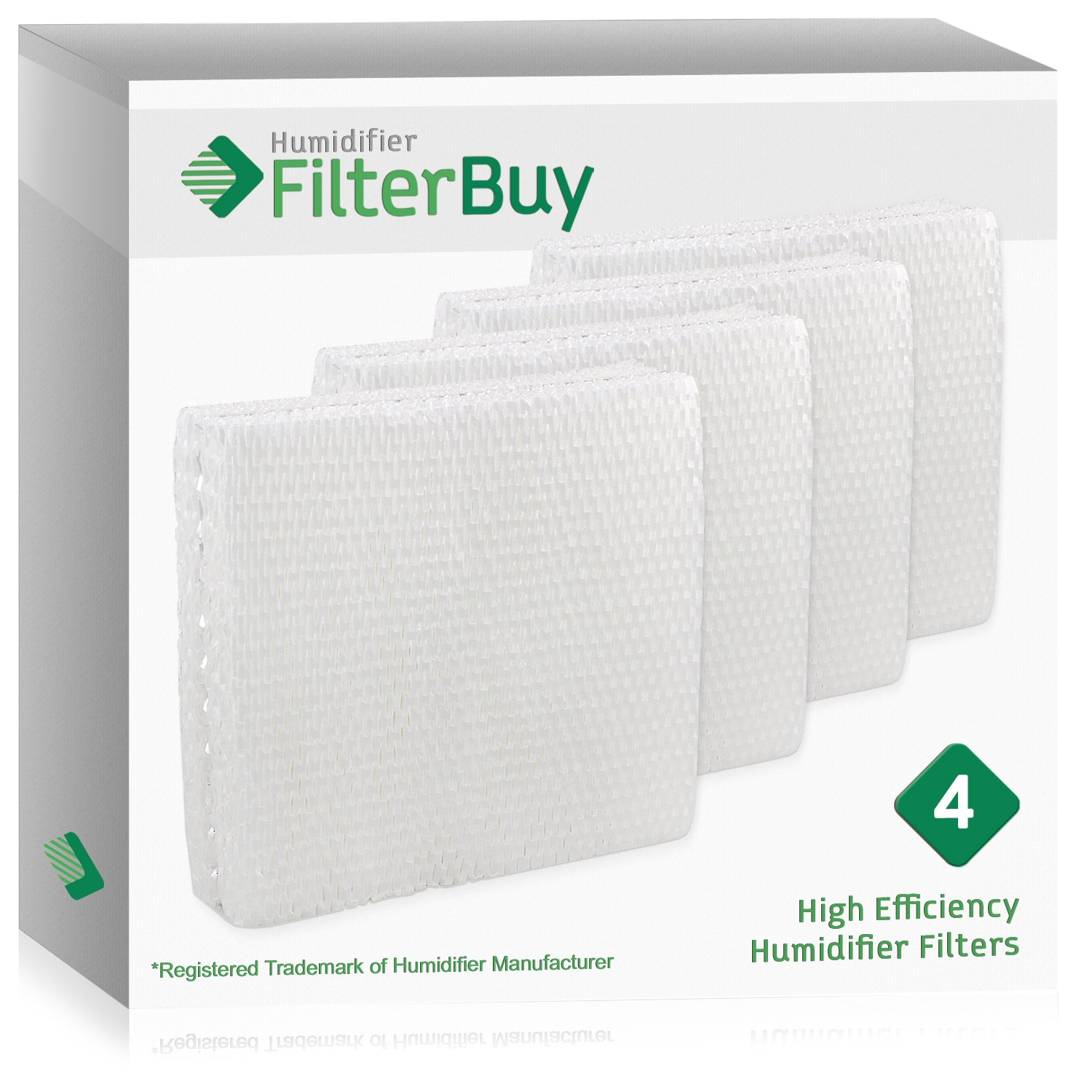 FilterBuy Replacement Humidifier Filters Compatible with Lasko THF15, Duracraft AC-809 & AC-815, Sears Kenmore 14809 Humidifier Wick Filters. Pack of 4.