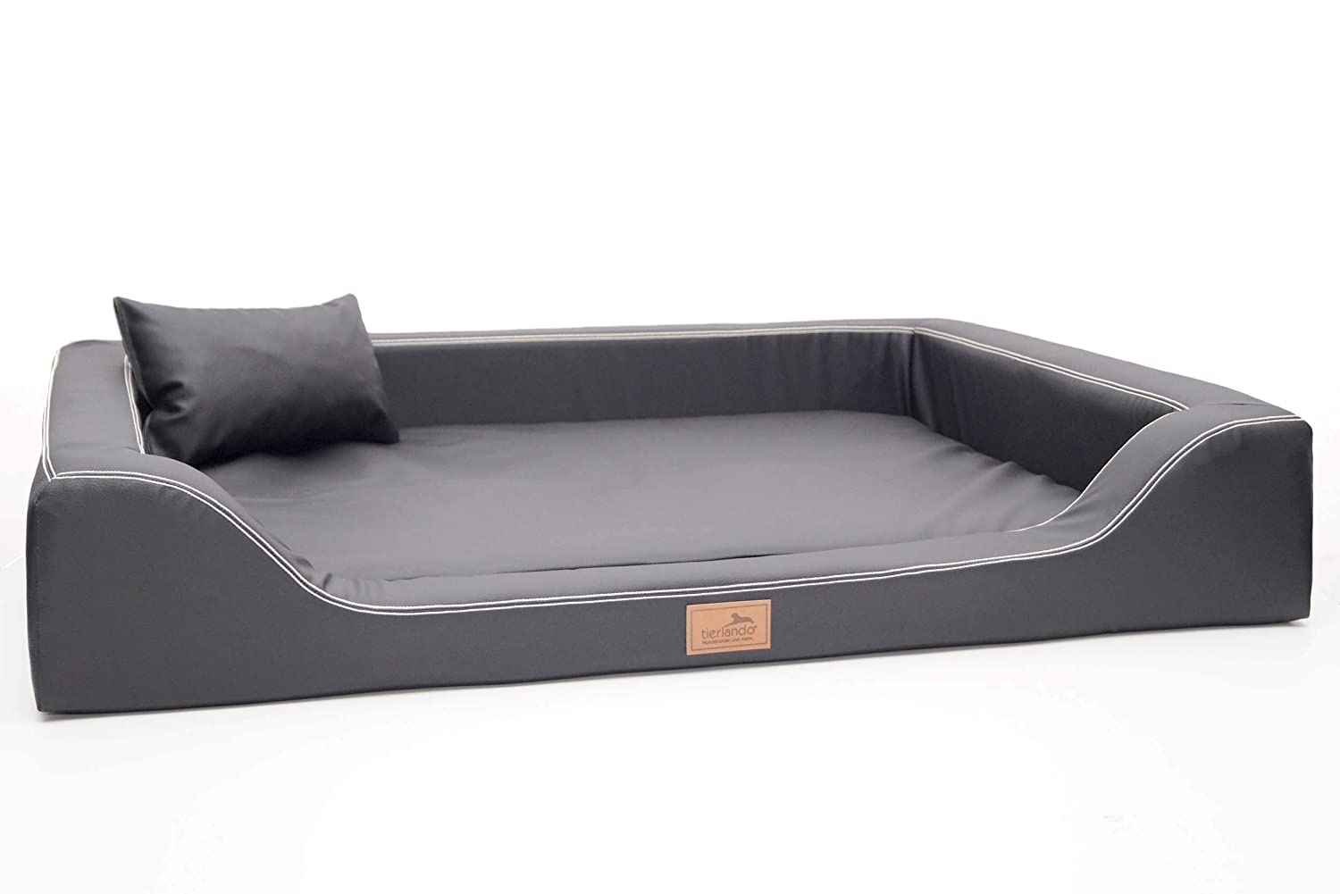 Tierlando Orthopedic Dog Bed Melody Latex Faux Lether Anti-hair 02 Graphite, MDY6   150x100 cm (Innen 130x80 cm)
