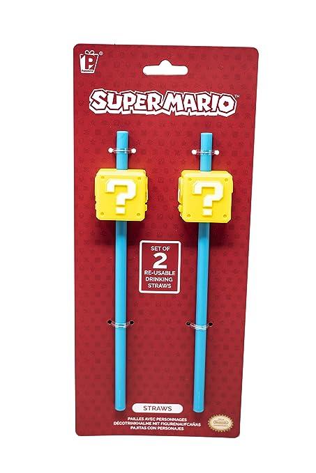 Paladone Nintendo Super Mario Bros Question Block Reusable Straws