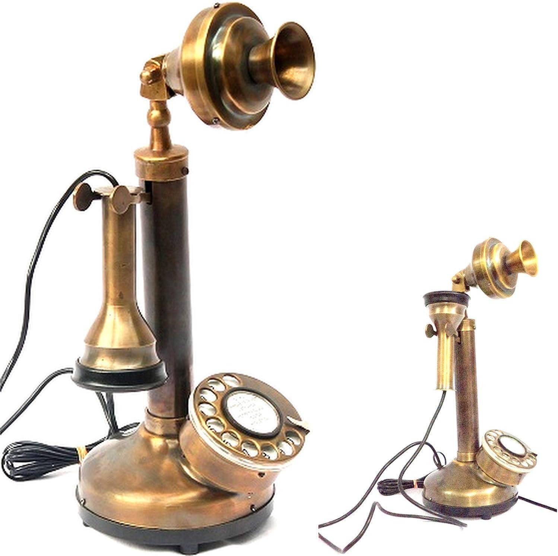 BRASS WORKING RETRO HANDMADE CANDLESTICK ROTARY DIAL LANDLINE TELEPHONE