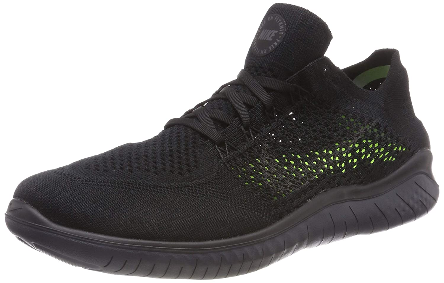 separation shoes 62122 b747f Amazon.com   Nike Men s Free RN Flyknit 2018 Black Anthracite 14.0   Road  Running