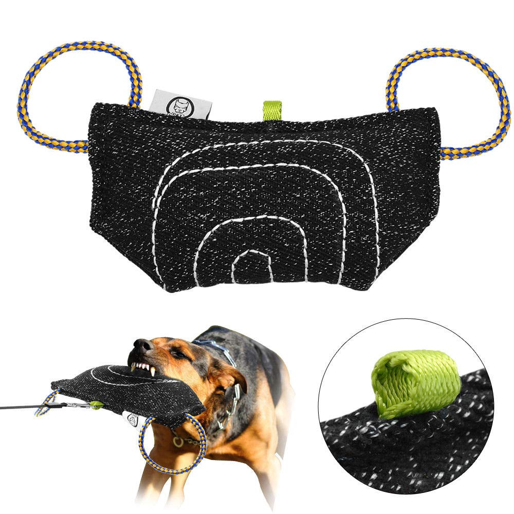 FidgetGear 2 Handle Jute Dog Bite Pillow Obedience Large Dog Bite Training Toys Black