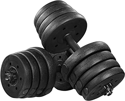 Adjustable 66LB Dumbbells Weights Set With Extra Metal Rod For Barbell Solid Weights Dumbbells Barbell Set With Non-Slip Handle Home Gym Free Dumbbelles Weights Barbell Set For Body Bulding workout