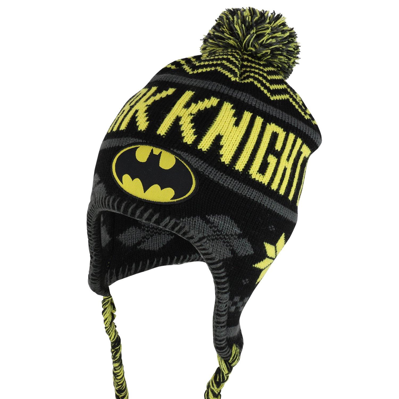 Armycrew Youth Size Kid's Batman Logo Dark Knight Designed Pom Pom Ski Beanie - Black