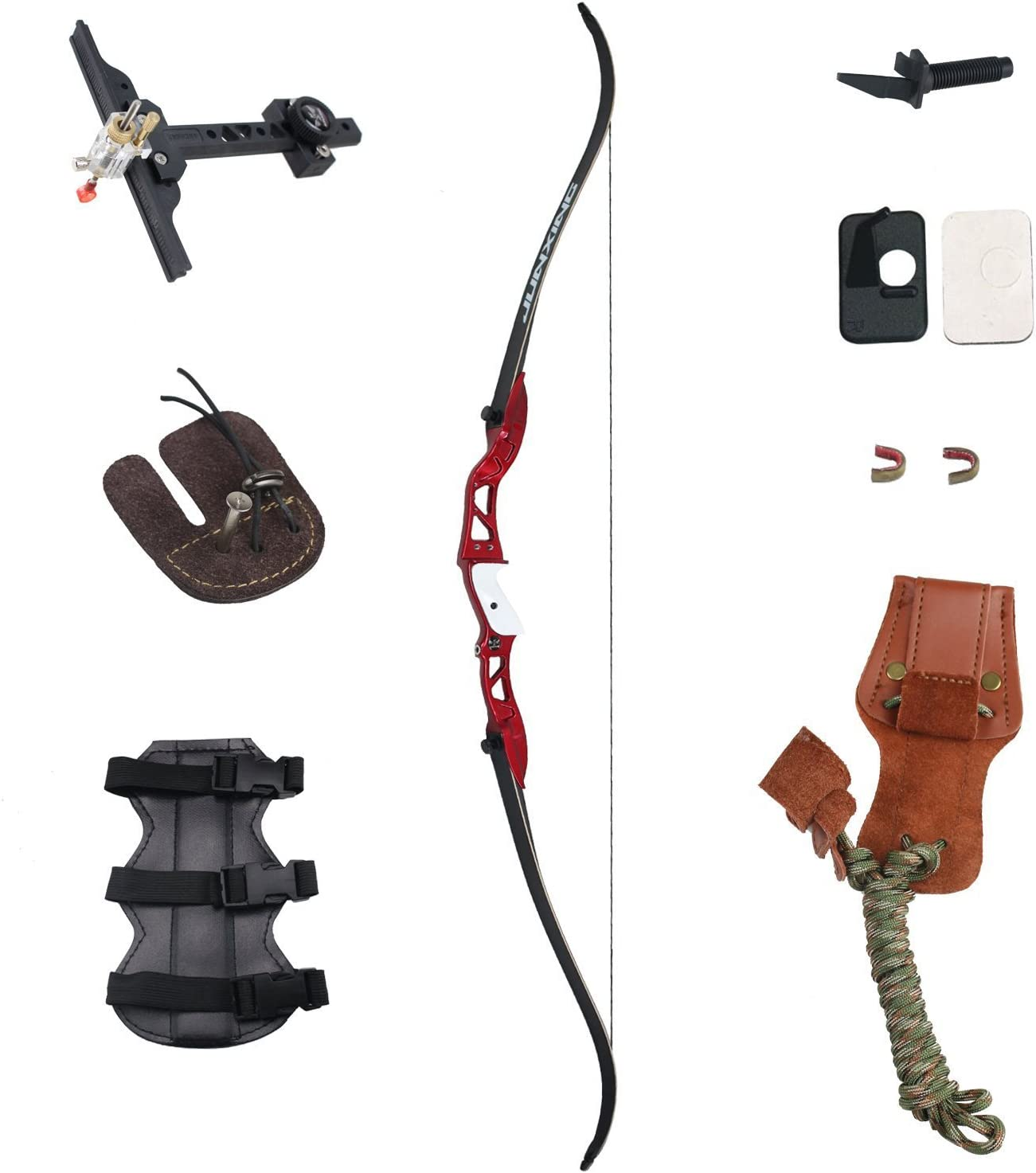 SinoArt 66 Metal Riser Takedown Recurve Bow Adult Archery Competition Athletic Bow Weights 20 22 24 26 28 30 32 34 36 LB Right Handed Archery Kit