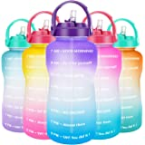 QuiFit Motivational Gallon Water Bottle - with Straw & Time Marker BPA Free 128/64 oz Large Water Jug Leak-Proof Durable…