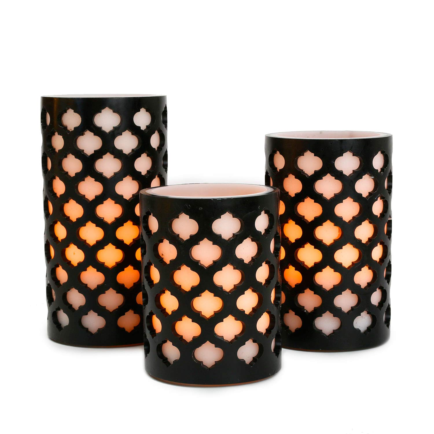 Flameless Wax Pillar Candles with Timer White Black Moroccan Design Warm White LED Glow Batteries Included Set of 3