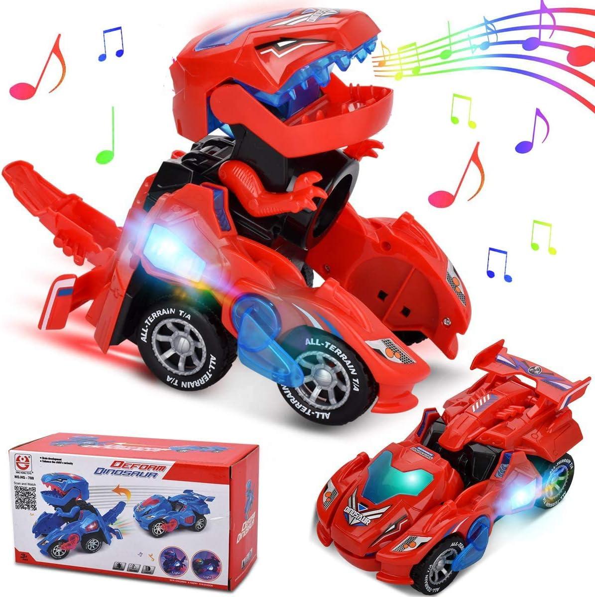 Roboter Transformer Dinosaurier Tier Dinosauria Auto LED Transformieren Kinder