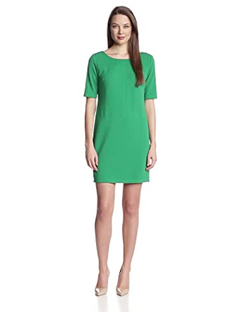 AGB Women's Elbow Sleeve Wide Neck Dress, Emerald, 8