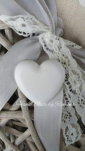 10 Gessetti profumati cuore con rose,matrimonio,pizzo,segnaposto,bomboniera
