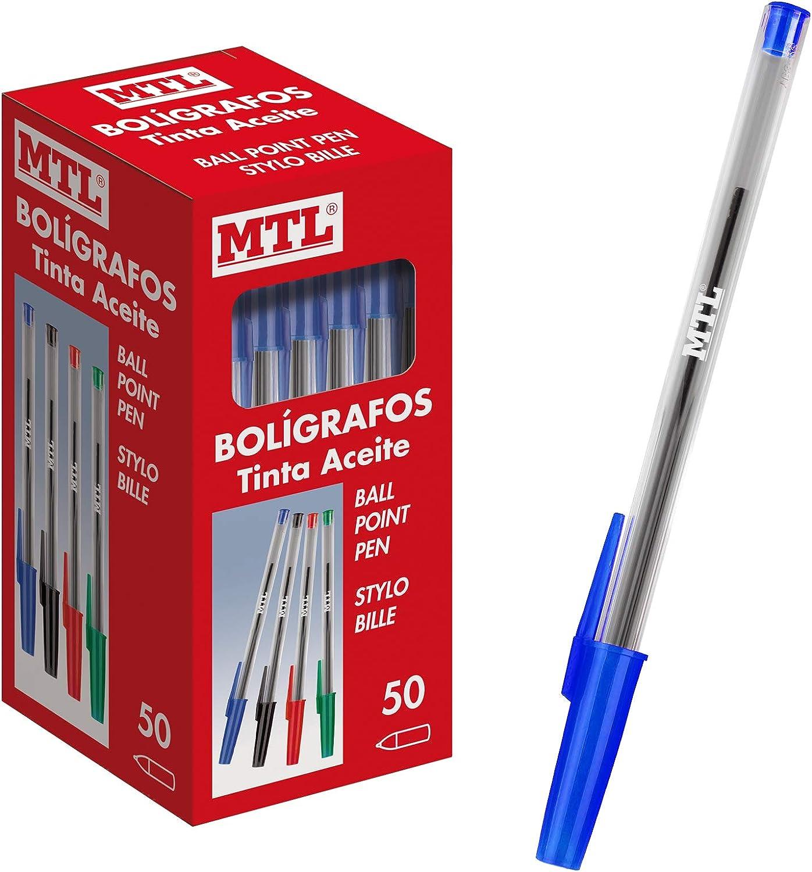 Dohe - Caja de bolígrafos con capucha - 1,0 mm - 50 uds - Azul