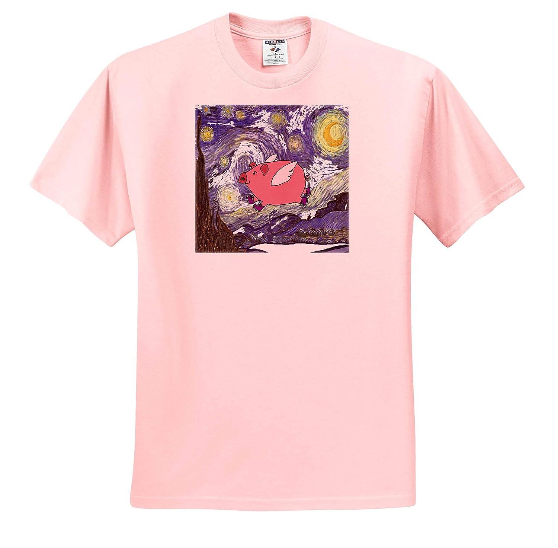 ts/_317011 3dRose All Smiles Art Funny Cute Flying Pig in Starry Night Van Gogh Art Funny Adult T-Shirt XL