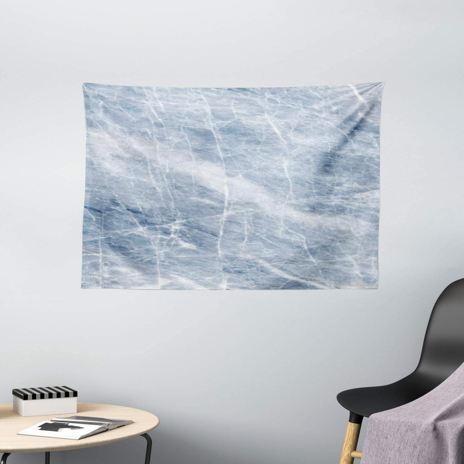 Amazon Com Ambesonne Marble Tapestry Light Blue Marble Pattern With White Cracks On Its Surface Geography Stone Wall Hanging For Bedroom Living Room Dorm 60 W X 40 L Inches Light Blue White