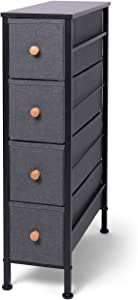 ROMOON Narrow Closet Organizer, 4 Drawer Fabric Storage Bins, Tall Storage Dresser, Closet Organizer Shelves with Drawers for Bedroom, Hallway, Entryway, Closet, Nursery-Dark Gray