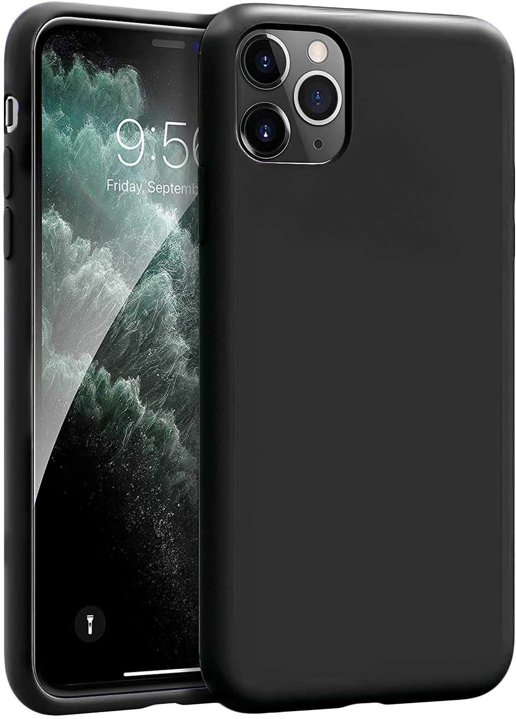 Compatible with iPhone 11 PRO 5.8inch(2019) Case Silicone Gel Rubber Shockproof Slim Shell with Soft Microfiber Cloth Lining Cushion Cover for iPhone 11 PRO 5.8inch(2019)-Black