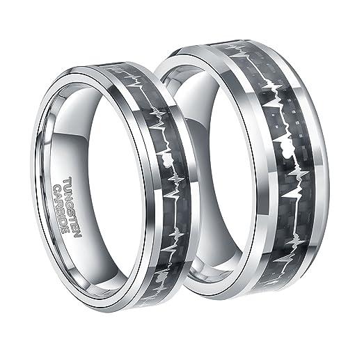 6mm 8mm Silver Tungsten Carbide Wedding Ring for Men Women with EKG