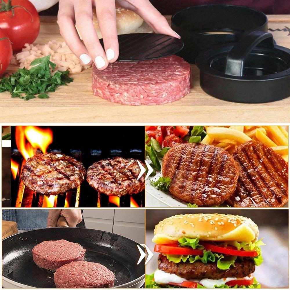 Regular Burger,Non Stick Patties Cookery Mold,Kitchen Barbecue Tool 3 in 1 Burger Mold Kit for Making Stuffed Burger Beef Burger Sliders Burger DEELING STYLE Hamburger Press Patty Maker
