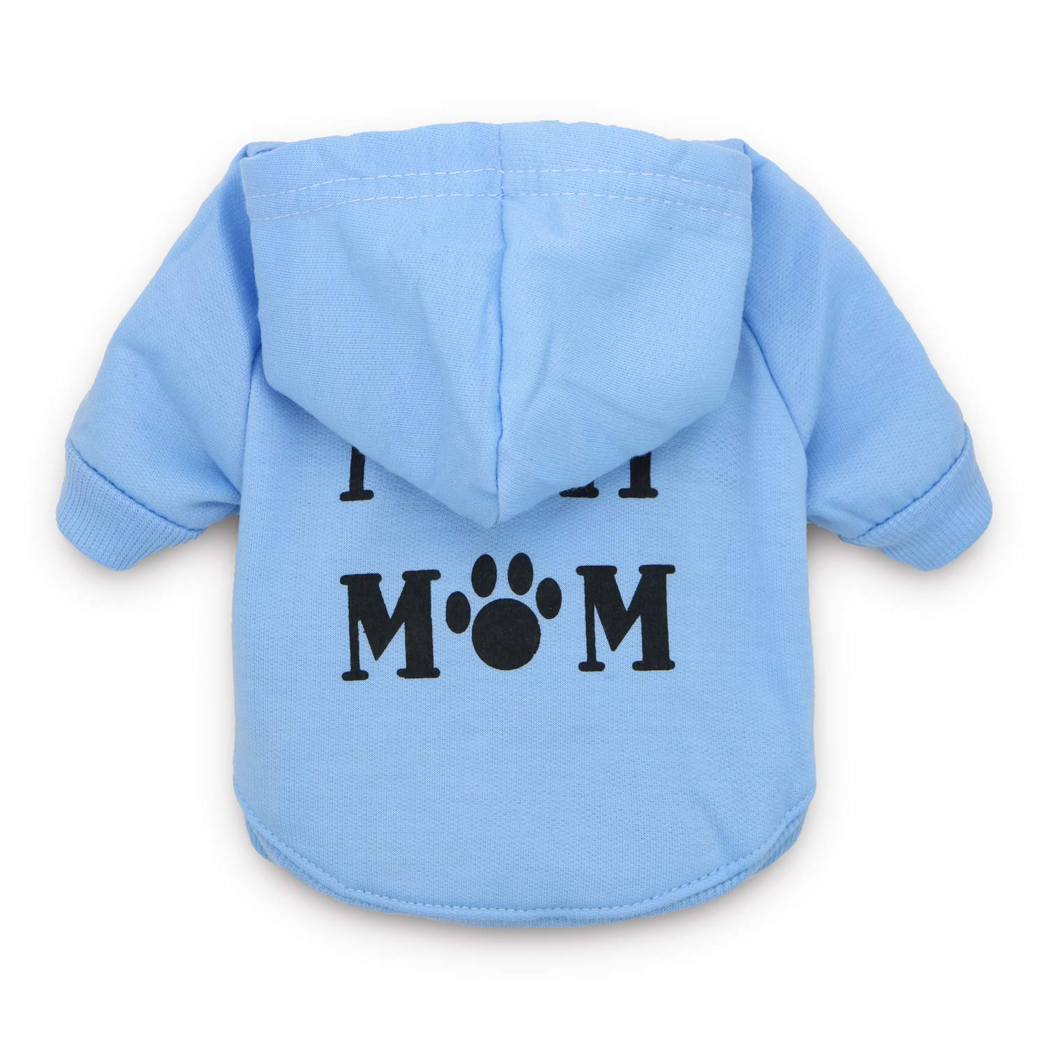 DroolingDog Dog Hoodies I Love My Mom Clothes Puppy T Shirt for Small Dogs, Small, Blue