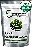 Sustainably US Grown Organic Wheat Grass Powder, 8 Ounce, Rich Fiber, Chlorophyll, Antioxidants & Vitamins