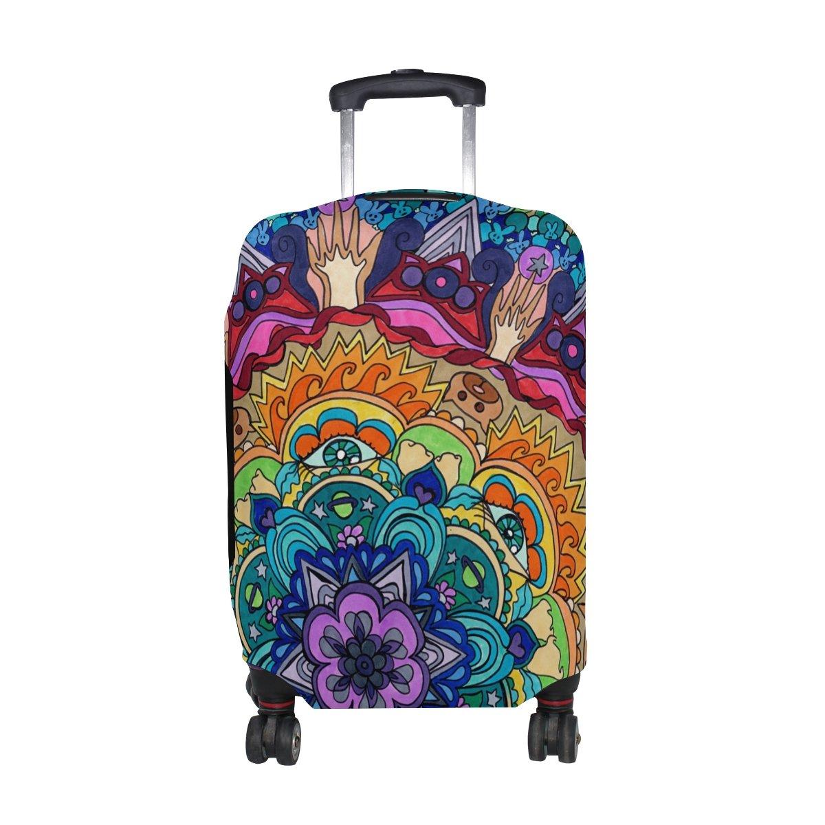 COOSUN Trippy Mandala Stampa bagagli di corsa di protezione rivestimenti lavabili Spandex bagagli Suitcase Cover - Fits 23-32 pollici M 23-26 in Multicolore