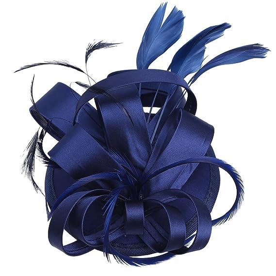 iEFiEL Tocado de Pelo para Vestido de Boda Fiesta Cóctel para Mujer Chica Clip Pinza de Cabello Horquilla de Flor Accesorios de Peinado Azul Oscuro Talla ...
