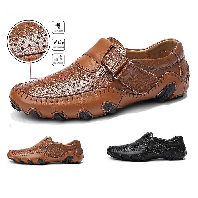 ae00a44c375 Mocasines para Hombre de Zapatos Mocasín Cuero Piel Casual Sandalias  Cordones Náuticos  Amazon.es