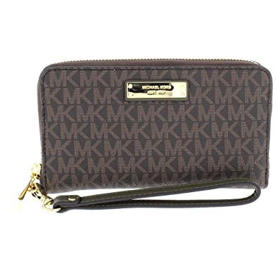 e33dc28916c0 Michael Kors Womens Jet Set Travel Logo Continental Wristlet Wallet Brown  O/S