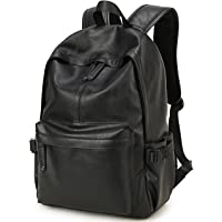 BAOSHA BP-08 TOP PU 皮革笔记本电脑背包学院背包黑色