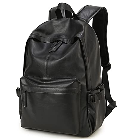 621fe43a7744 Image Unavailable. Image not available for. Color  BAOSHA BP-08 TOP PU  Leather Laptop Backpack School College Rucksack Bag Black