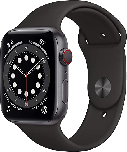 New Apple Watch Series 6 (GPS + Cellular, 44mm) – Space Gray Aluminum Case with Black Sport Band