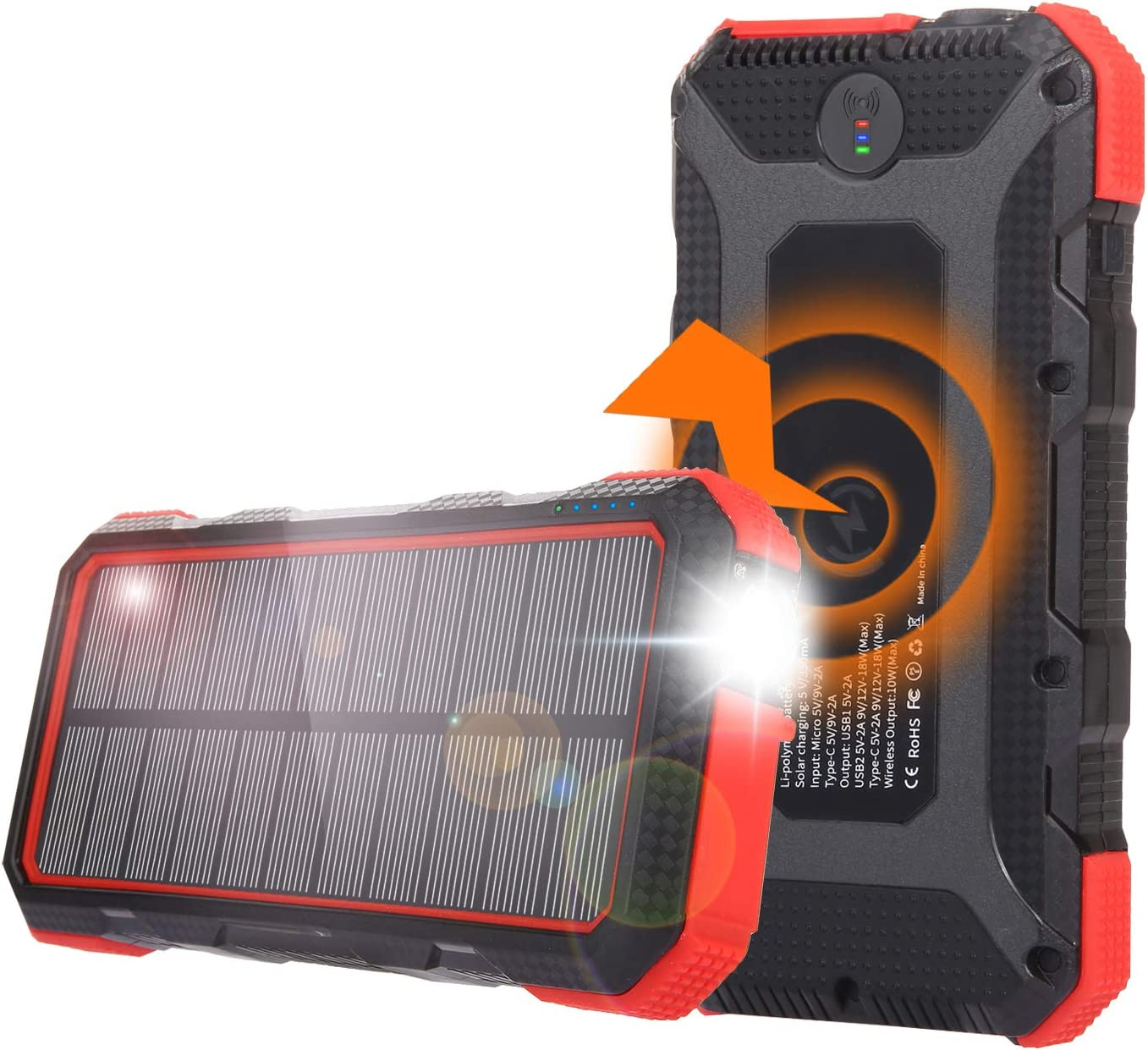 Solar Power Bank, 25000mAh Sendowtek PD 18W Fast Charging 7.5W/10W Qi Wireless Portable Phone Charger 4 Output& 2 Input Huge Capacity Backup Battery Flashlight IP54 Rainproof for Outdoor Camping