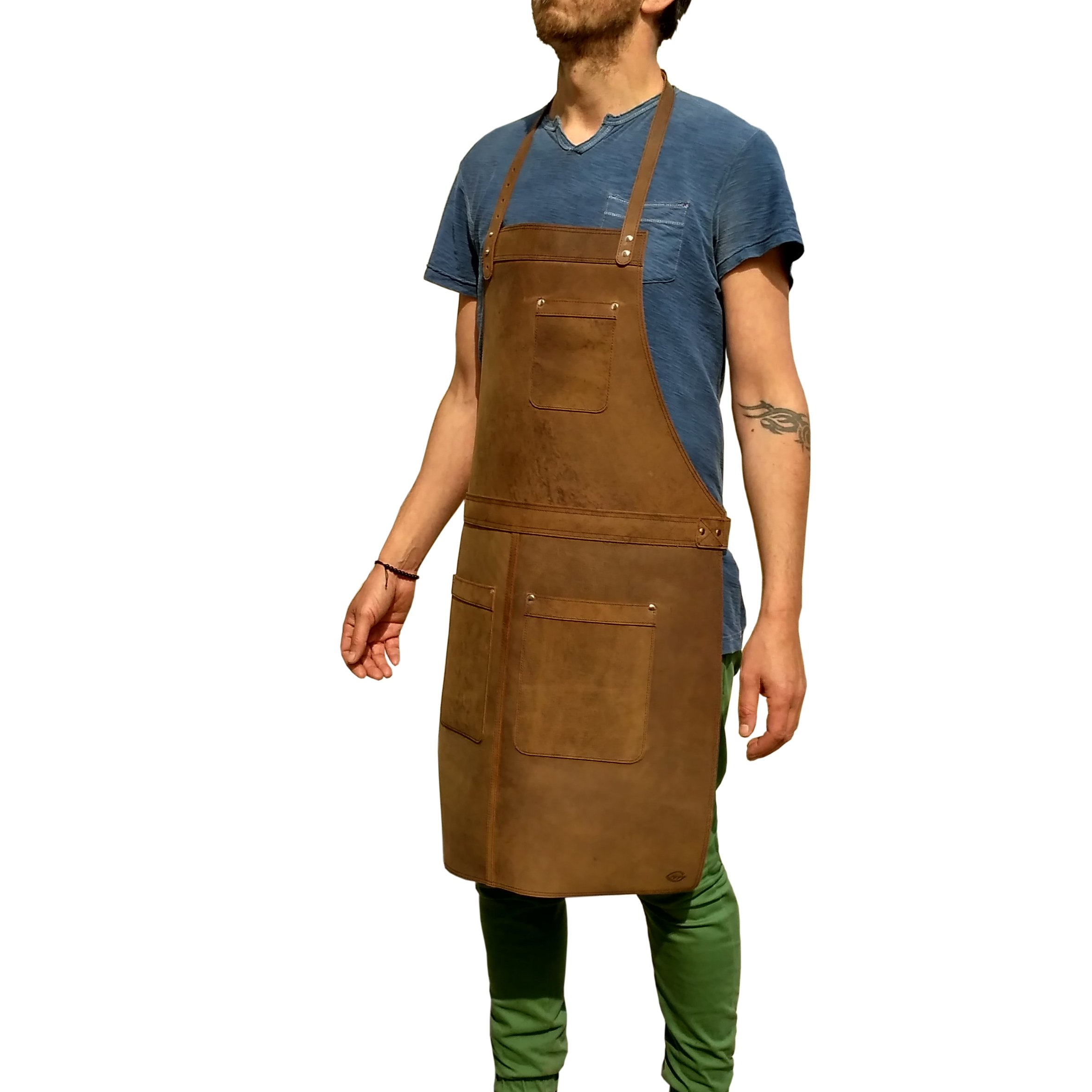 Ultimate Leather Apron for Professionals. from One Leaf (Silver Color Hardware)