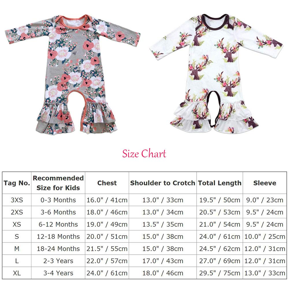 e10560cec7f FYMNSI Newborn Baby Girls Icing Ruffle Romper Floral Jumpsuit Pants Long  Sleeve Pajamas Christmas Birthday Outfits Homewear 3-6 Months  Amazon.in   Baby
