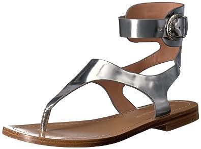 Sigerson Morrison Women's Adria Flat Sandal, Silver, ...