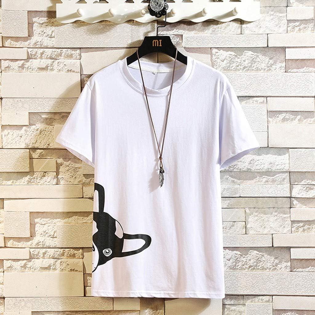 Mens Summer Casual Fashion Printed O-Neck Short Sleeve T-Shirt Top Blouse Tronet Mens Summer t Shirts Short Sleeve
