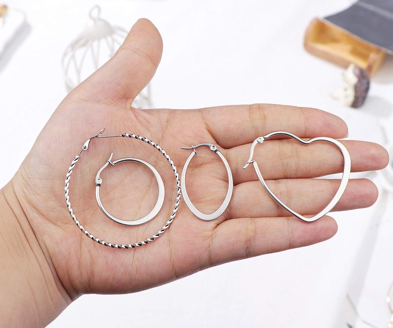 Milacolato 6Pairs Stainless Steel Geometric Hoop Earrings for Women Girls Lightweight Thin Square Heart Earring Set