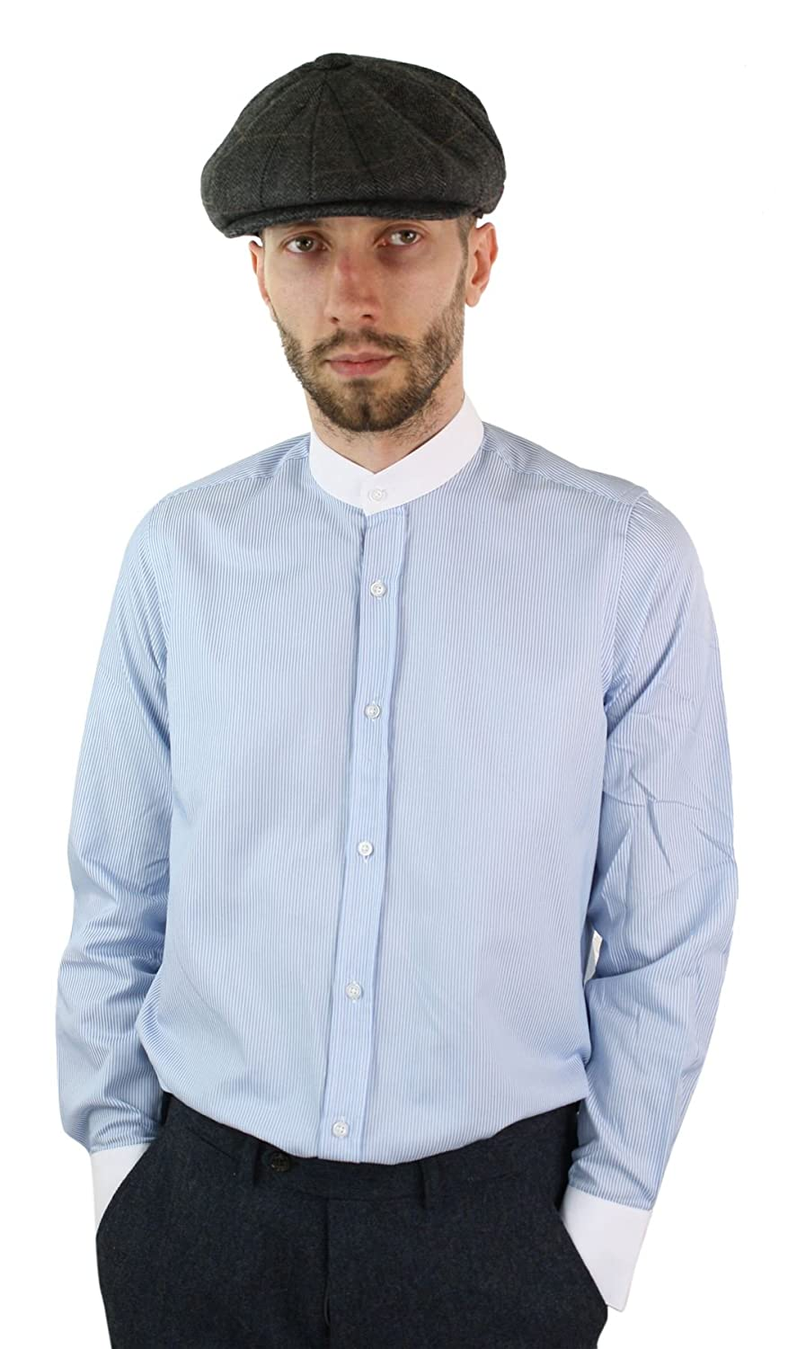 1920s Men's Fashion UK | Peaky Blinders Clothing Mens Retro Peaky Blinders Removable Collar Stripe Grandad Nehru Collarless Shirt - Light-Blue S(36-38