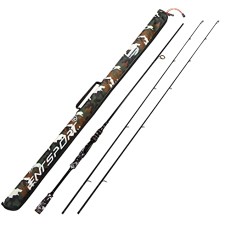 Entsport E Series – Camo Legend 2-Piece 7-Feet Spinning Rod 24 Ton Carbon Fiber Spincasting Fishing Rod with 2 Tips – Medium and Medium Heavy Portable Spin Bass Fishing Rod