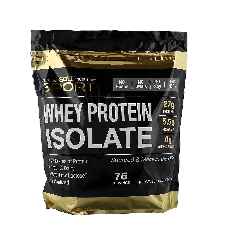 California Gold Nutrition ホエイプロテイン アイソレート(WPI 90+) 超低乳糖 ノンフレーバー (2.27kg) 海外直送品 B07DT933TG
