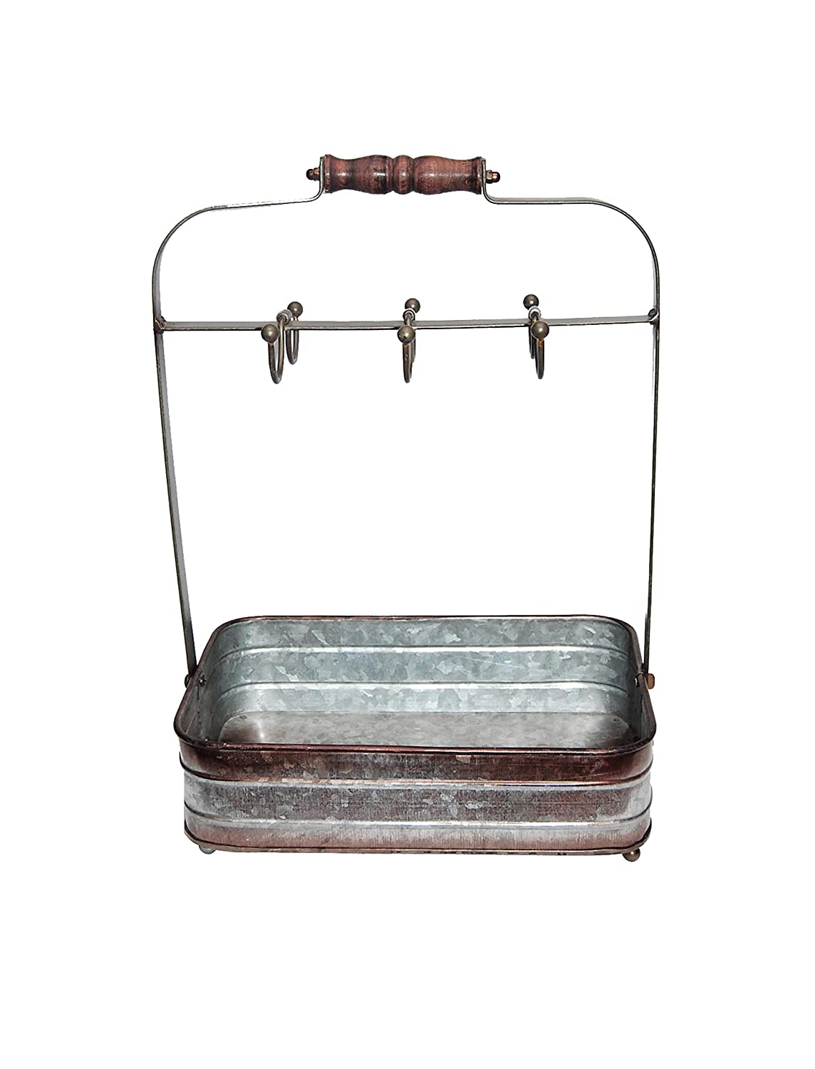 Benzara BM177866 Rustic Galvanized Metal Crockery Holder with Cup Hooks, Gray