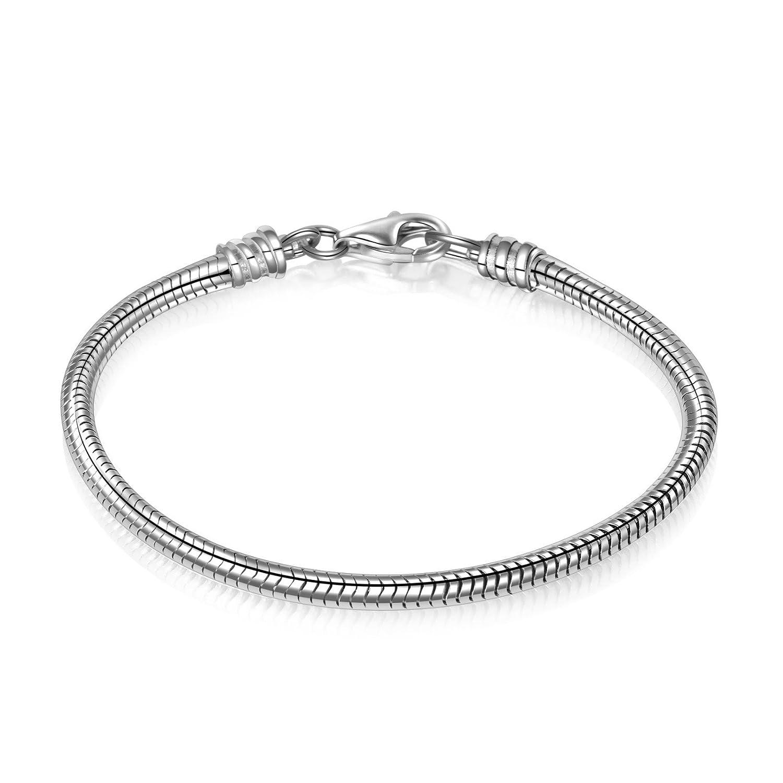 Angemiel 925 Sterling Silver Snake Chain Bracelet for European Bracelets Charms Bead ACXSNA-17CM