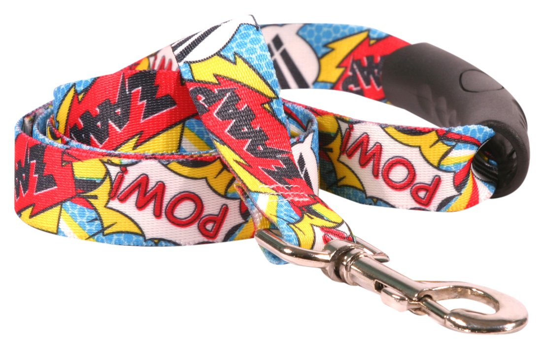 Yellow Dog Design Comic Print Ez-Grip Dog Leash with Comfort Handle 1'' Wide and 5' (60'') Long, Large