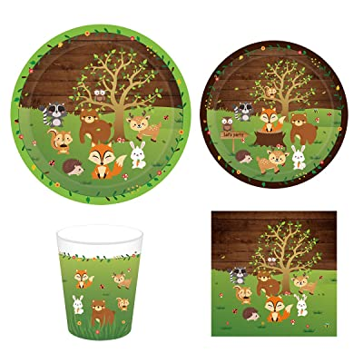 Cieovo Woodland Animals Birthday Party Supplies Set for 16 Guests Including Dinner Plates, Dessert Plates, Lunch Napkins, Cups for Baby Shower Woodland Theme birthday Animal Party: Toys & Games