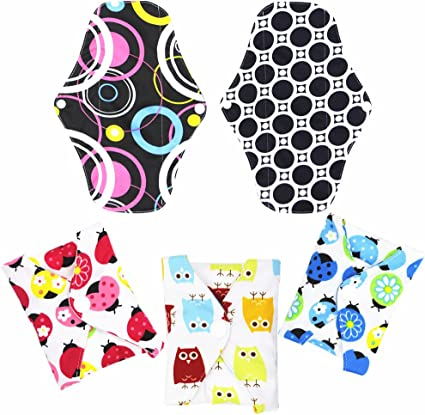 5 Pieces Reusable Panty Liners for Women Washable Sanitary Towels Light Flow Small 7 inch