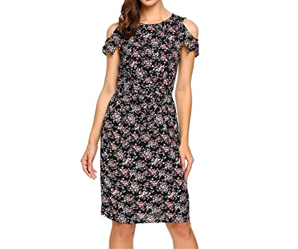 toy kuunts Women Vintage Summer Shoulder Short Sleeve Floral Print Casual with Belt Beach Dress,